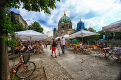 Cafe in Berlin, Germany (` Toshio ') Tags: toshio berlin germany europe european europeanunion spreeriver berlincathedral cathedral bicycle people cafe restaurant fujixt2 xt2