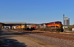 """UP Trains in Kansas City, MO (""""Righteous"""" Grant G.) Tags: up union pacific railroad railway kcs kansas southern city missouri emd ge power grain freight manifest east eastbound"""