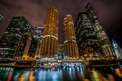 Marina Towers at Chicago River (Joshua Mellin) Tags: chicago artonthemart projection light merchandisemart themart merchandise mart history river chicagoriver riverfront shapes squares colors evening 2018 fall autumn october winter cold bridge wellsstreetbridge wellsstreet city colorful ad advertisement original large big full print order art building buildings architecture chicagoarchitecturefoundation chicagoarchitecture foundation sustainable green architect forever travel tourism choosechicago lights lighting science technology technological wilco wilcotowers yhf yankeehotelfoxtrot