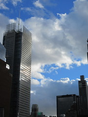 2018 October Cloud Strewn Sky Reflection NYC 2564 (Brechtbug) Tags: 2018 october cloud strewn sky nyc virtual clock tower from hells kitchen clinton near times square broadway new york city midtown manhattan stormy weather building no hanging cumulonimbus blue cumulus nimbus fall hell s nemo southern view ny1 10132018