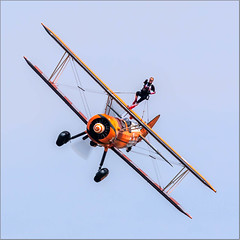 'The Flying Circus' AeroSuperBatics Boeing PT-17 Kaydet N74189 '2' with Wingwalker (Hugh Dodson) Tags: duxford duxfordairfestival theflyingcircus aerosuperbatics boeingpt17 kaydet n74189 2 wingwalker