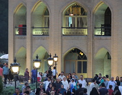 Iranian people relax walking by summer royal palace at dusk, Tabriz, Iran (Germán Vogel) Tags: asia westasia middleeast silkroad iran islamicrepublic muslimculture middleeastculture travel traveldestinations traveltourism tourism touristattraction landmark holidaydestination tabriz eastazerbaijan crowd crowded people iranianculture iranian iranianpeople dusk palace muslimworld arch architecture publicpark elgoli elgolipark promenade night nightlife facade persianarchitecture safavid royalpalace summerpalace royal royalty historicalsite history society population