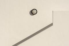 Lamp on a white wall (Jan van der Wolf) Tags: map18169vv lamp light lines lijnen shadow fuerteventura caletadefuste gevel gebouw facade staircase stairway white wit wall muur geometric geometry geometrisch geometrie monochrome monochroom architecture architectuur minimalism minimalistic minimalisme minimal minimlistic simple simpel