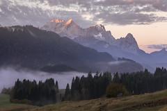 Zugspitze (Andrew G Robertson) Tags: garmisch partenkitchen wetterstein mountains alps germany deutschland bavaria mist alpenglow fog geroldsee dawn tyrol sunrise sunset