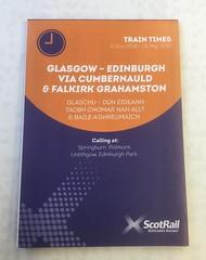Another choice of route from Edinburgh to Glasgow was launched in December 2018. (calderwoodroy) Tags: traininformation trainservice scotrail timetablefolder traintimetable timetable newtrainservice glasgow springburn stepps gartcosh cumbernauld falkirk polmont linlithgow edinburghpark edinburgh scotland
