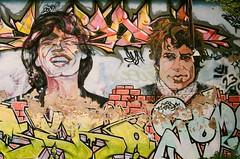 Greifenstein (Harald Reichmann) Tags: greifenstein strombauamt fassade portrait musiker mickjagger bobdylan graffito malerei kunst analog film olympusom4