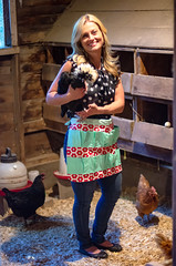 Kim and Chickens -29 (sammycj2a) Tags: eggpron apron ford fordtractor chickens chickencoop maconcounty tennessee utah ogden northogden redbelly farmgirl levis sheerfabric blueeyes beautiful whitecrestedblackpolish