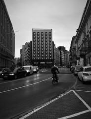 Downtown (roomman) Tags: 2018 warszawa warsaw poland weekend downtown town city street scene bicycle cycle bike road traffic bw black white blackandwhite monochrome grey contrast