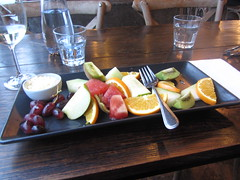 Fruit platter. Dinner at the Boatshed, Lake Wendouree, Ballarat, Victoria (d.kevan) Tags: theboathouse bars restaurants lakewendouree ballarat victoria tables cutlery glasses platters water wine fruit cream