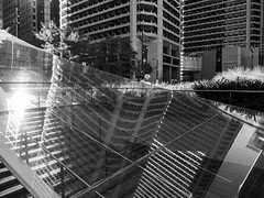Dilworth Park, 2017 (Alan Barr) Tags: philadelphia 2017 dilworthpark cityhall blackandwhite bw blackwhite mono monochrome cityscape landscape reflection reflections mirror mirrorimage architecture panasonic lumix gx85 city