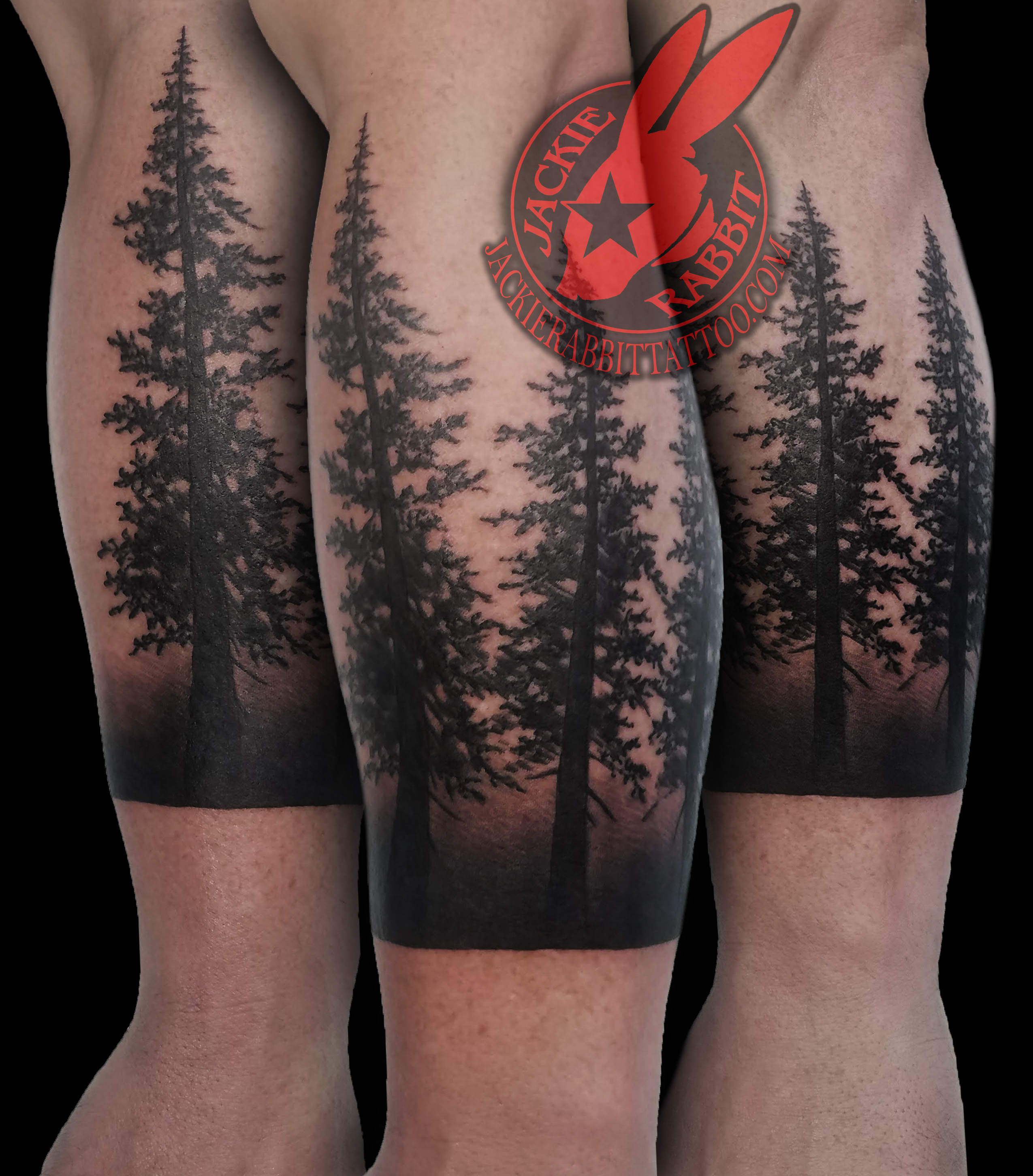 3d4d08028 ... Grey Real 3D Tattoo by Jackie Rabbit Pine Tree Forest Silhouette Realistic  Black Work Ink Sleeve Tattoo by Jackie Rabbit ...