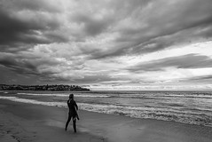 DSC01467 (Damir Govorcin Photography) Tags: surfer sea bondi beach sydney blackwhite sky clouds monochrome wide angle sony a7ii zeiss 1635mm landscape sand water