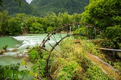 Water Wheel (Rod Waddington) Tags: vietnam vietnamese north quay son river water wheel waterwheel lifter channel irrigation rice trees mountains landscape nature rapids rocks outdoor mechanical