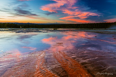 Turquoise Pool from Grand Prismatic Spring After Sunset (dan@propeakphotography.com) Tags: america blue bluehour clouds colors famousplace grandprismaticspring hotspring iconic internationallandmark landscape lastlight mineralwater nps nationalpark nature northamerica orange places red reflection spring sunset touristattraction traveldestination travelandtourism trees turquoisepool unescoworldheritagesite usa unitedstates wyoming yellow yellowstonenationalpark