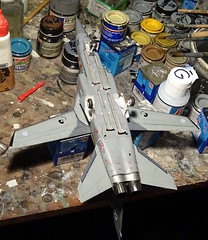 "1:72 Panavia ""Tornado F.6""; aircraft ""ZF205/CG"" of the Royal Air Force 5 Squadron; RAF Cranwell, summer 2018 (Whif/modified Italeri kit) - WiP (dizzyfugu) Tags: 172 panavia tornado f3 f6 adv interceptor dark medium sea grey raf royal air force centenary group build whatifmodelers kit conversion mig23 intakes whif whatif fictional aviation 5 squadron england great britain modelbau dizzyfugu meteor aam amraam aim120 eurofighter typhoon replacement interim development ej200 jet"