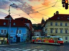 Malostranská, Prague | Czech Republic (maryduniants) Tags: capital europe city eveninglight clouds summer czech castle colors sunset tram prag praha prague czechrepublic malostranská