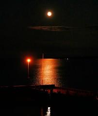 bright moon (ekelly80) Tags: michigan august2018 summer upnorth puremichigan night moon fullmoon lake lakehuron water reflection light bright dark dock view glow starline boat mackinawcity