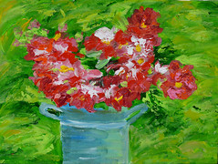 Bucket of Flowers (BKHagar *Kim*) Tags: bkhagar art artwork acrylic canvas paint painting floral flowers bucket