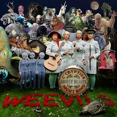 Captain Cryptids Lonely Beasts Night Band (Apionid) Tags: cryptozoology moriarty collage square nikond7000 gimp hereios werehere sgtpepper homage nigelfarage albumcover theweevils