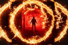 Love is a burning thing.  286/365. (FadeToBlackLP) Tags: lightpainting longexposure steelwool lensswap man figure silhouette orange hot flame explore explored