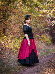 Autumn stroll (blackietv) Tags: princess black red long dress tgirl transvestite crossdresser crossdressing transgender outside outdoor