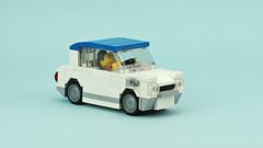 "Vintage Kei Car ""Carol"" (de-marco) Tags: lego car 4wide city town vehicle old vintage white"
