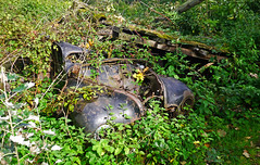 Total Collapse (Gerry Hat Trick) Tags: wednesdaywalk cheshire derelict car auto shed farm walking walk hiking hike wreck wrecked rusty rusted overgrown abandoned panasoniclumixg3 lumix14mmwapancakelens crusty collapsed poynton woodford weeds rotted rotten jowetjavelin vintage 1950s