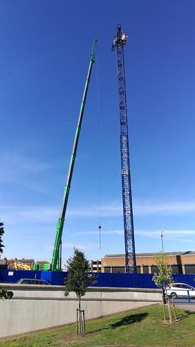 Crane going up near Lancaster Circus