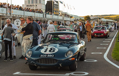 E-Type on the grid (NaPCo74) Tags: explored explore goodwood revival 2018 lord march duke richmond england britain british english sussex chichester classic historic racing race motor circuit vintage jaguar etype typee type e coventry 38 straight 6 six cylinders blue canon eos 700d