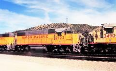 Union Pacific GP38-2 locomotive at Cajon Summit in 1993 (2) (Tangled Bank) Tags: union pacific locomotive 1990s 90s roster north american train railway railroad up california cajon pass summit