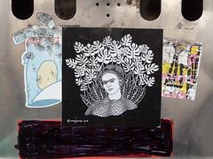 London 2018 (bella.m) Tags: graffiti streetart urbanart london greatbritain art brutonstreet wheatpaste pasteup leaves fridakahlo