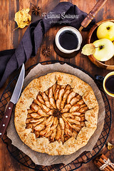 Apples and cinnamon rustic open pie (galette), top view (Katty-S) Tags: bake cake delicious dessert dough food french fresh fruit galette gourmet apple cinnamon anise homemade meal coffee cup open pastry pie spice rustic sugar sweet table tart tasty autumn fall overhead top view wooden
