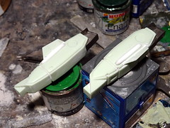 "1:100 Stonewell/Bellcom VF-1J (Block 5 with MLU update) ""Valkyrie""; aircraft ""ET 240"" of the U.N. Spacy SVF-201 ""Flying Shamrocks""; Magadan Air Base, late 2017 (modified ARII kit) - WiP (dizzyfugu) Tags: arii 1100 green ral 1000 fictional aviation dizzyfugu modellbau whatif anime macross model kit japanimation battroid valkyrie destroid giant robot gerwalk fighter zentraedi transformers oav robotech protoculture vf1 walküre plus amm1 vf1a vf1j laser irst whif"