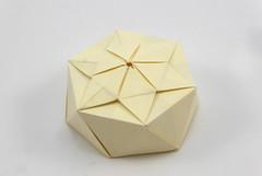 Lucky Star Box (simplified) (Michał Kosmulski) Tags: origami box star hexagonal hexagram michałkosmulski fedrigonisplendorgelpaper white beige dayandnighttessellation halinarościszewskanarloch haligami