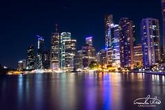 Brisbane Skyline (Theo Crazzolara) Tags: brisbane night australia city queensland lights highlight light vivid party fridaynight romantic skyline cityscape river brisbaneriver business traveling backpacking relax