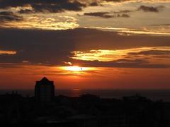 Il gabbiano al posto giusto (fotomie2009) Tags: clouds nuvole nubes balcorama dawn alba savona liguria italy italia riviera ligure ponente silhouette matitino building
