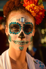 Bejeweled skull (radargeek) Tags: dayofthedead 2017 october oklahomacity plazadistrict okc oklahoma catrina portrait facepaint