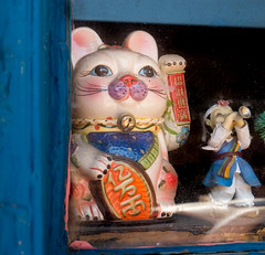 Lucky Cat (Maureen Medina) Tags: maureenmedina artizenimages window luckycat asian ceramic statue cat korean boy doll traditionaldress bugle