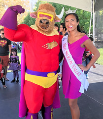 Bull-Itt the Superbull meets Miss Silicon Valley 2019! (critter superhero) Tags: superhero bull beefy muscle costume spandex speedo beauty queen festival sanjose missamerica
