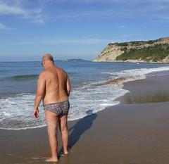 Pat on Arillas beach (pj's memories) Tags: corfu arillas briefs beach speedos seaside slip tanthru trunks