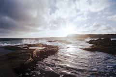 Splash (OzGFK) Tags: sea ocean beach waves reef rocks water phillipisland fujisuperia400 fujifilm clouds sunset nature nikonfm2n