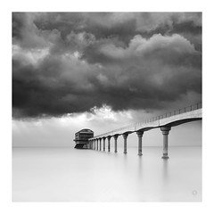 On Station (picturedevon.co.uk) Tags: rnli lifeboat station bembridge uk bw fineart le mono composit minimal grey sea sky clouds blackandwhite building architecture coast water light pier concrete weather seasaide canon wwwpicturedevoncouk iow isleofwight