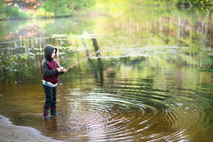 Serious Sportsmanship (Chancy Rendezvous) Tags: chancyrendezvous davelawler blurgasm fishing kid charlie child ripples pond water fish rod reel lake park massachusets lawler