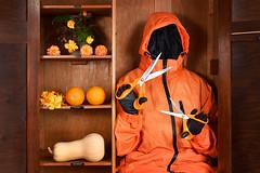Socks, Shirts, Pyjamas and Underwear (Apionid) Tags: orange coat scissors wardrobe surreal fruit flowers squash werehere hereios nikond7000 random invisibleman