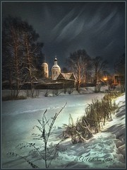 Winter evening in Belkino. (odinvadim) Tags: iphoneart landscape iphoneonly winter iphonex iphoneography specialist church mytravelgram painterlymobileart iphone snapseed evening artist obninsk frost oldhouse travel textured forest editmaster textures icolorama
