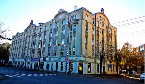 Tenement house at corner of Pernavas Street and Varnu Street in Riga, Latvia. October 12, 2018