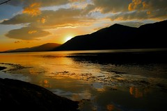Sunset, Loch Linnhe, Scotland, UK (BrianDerbyshire) Tags: uk scotland lochlinnhe corran water sea loch sunset sun mountains reflections colour scenery canon canondslr canon760d
