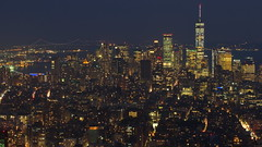 Lower Manhattan Skyline (sonic182) Tags: skyline lower manhattan viewed from 86th floor observatory empire state building new york city ny usa usa2018 skyscraper skyscrapers long exposure blue hour evening night dusk world trade center wtc united states america nyc