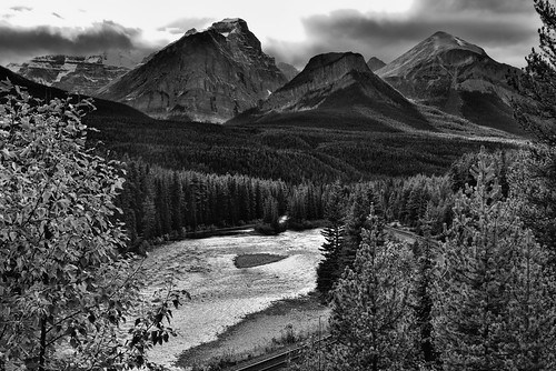 Beautiful Mountain Peaks Caught in the Late Afternoon Sunlight as a Backdrop for Morant's Curve (Black & White).