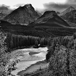 Beautiful Mountain Peaks Caught in the Late Afternoon Sunlight as a Backdrop for Morant's Curve (Black & White). thumbnail